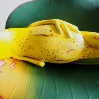 Bananenfrosch, Froschskulptur, Froschkönig, Froschplastik, Frosch Figur, modellierter Frosch, Toy Art, figurative Art Bild 2