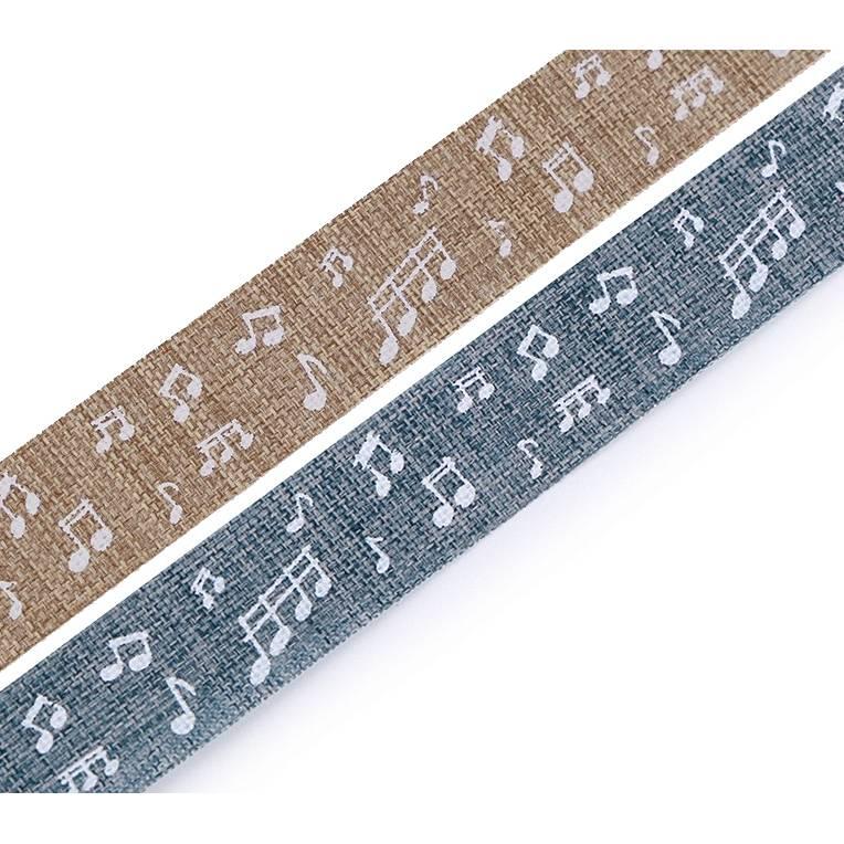 Textilband 5m Noten Beige / Blau 15mm Bild 1