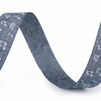 Textilband 5m Noten Beige / Blau 15mm Bild 2