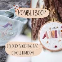 """Kombi eBook: """"Stickanleitung Dino & Einhorn"""" und """"Stickanleitung Colour Blocking ABC"""" Bild 1"""