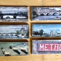 Paris Metro Holzbild - Weinkisten Upcycling, 9x23 cm, Wanddeko, Shabby Style, retro, Dekoration, Wandbild Bild 8
