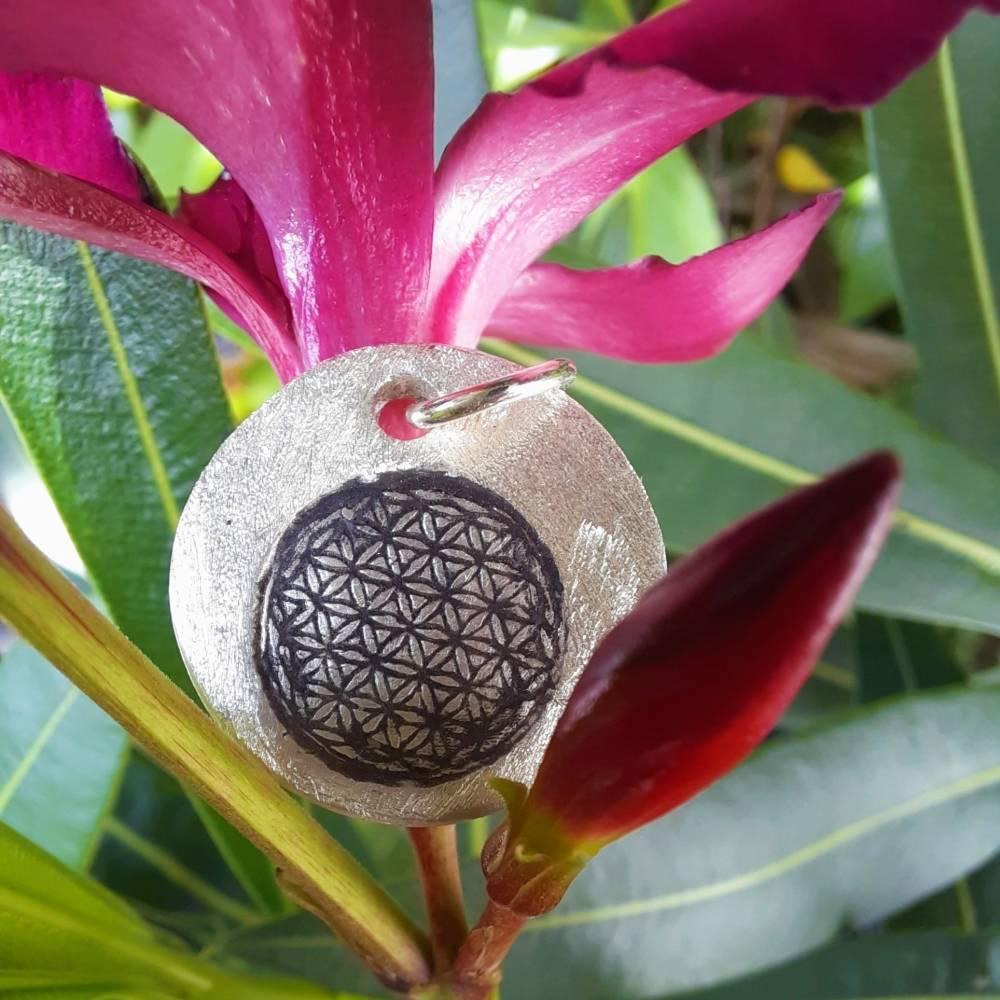 """Anhänger """"Blume des Lebens"""", 999 Silber, rund, mattiert Bild 1"""