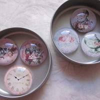 """6 Cabochon Magnete groß Alice im Wunderland Vintage Stil Rosen """"Alice"""" Geschenkidee  Bild 1"""
