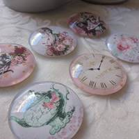 """6 Cabochon Magnete groß Alice im Wunderland Vintage Stil Rosen """"Alice"""" Geschenkidee  Bild 3"""