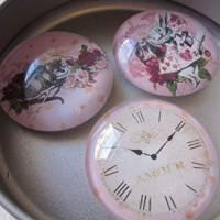 """6 Cabochon Magnete groß Alice im Wunderland Vintage Stil Rosen """"Alice"""" Geschenkidee  Bild 4"""