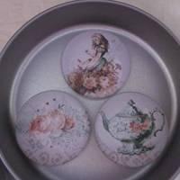 """6 Cabochon Magnete groß Alice im Wunderland Vintage Stil Rosen """"Alice"""" Geschenkidee  Bild 5"""