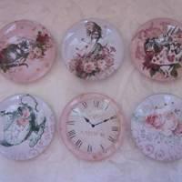 """6 Cabochon Magnete groß Alice im Wunderland Vintage Stil Rosen """"Alice"""" Geschenkidee  Bild 6"""