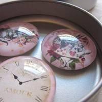 """6 Cabochon Magnete groß Alice im Wunderland Vintage Stil Rosen """"Alice"""" Geschenkidee  Bild 9"""