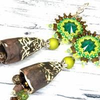 grüne braune keramikblüten ohrringe, lässige boho hippie ohrhänger, geschenk,  böhmische glasperlen  Bild 6