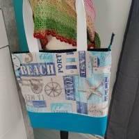 große Tasche, Shopper, Umhängetasche, Maritim türkis  Bild 1