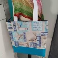 große Tasche, Shopper, Umhängetasche, Maritim türkis  Bild 2
