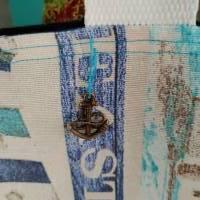 große Tasche, Shopper, Umhängetasche, Maritim türkis  Bild 3