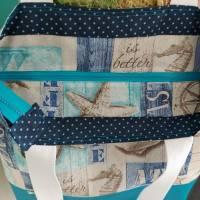 große Tasche, Shopper, Umhängetasche, Maritim türkis  Bild 5