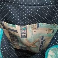 große Tasche, Shopper, Umhängetasche, Maritim türkis  Bild 7