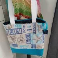 große Tasche, Shopper, Umhängetasche, Maritim türkis  Bild 8