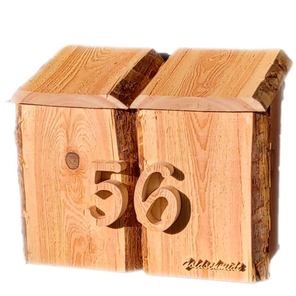 Briefkasten aus Holz Lärche handgemacht massiv rustikal Bild 1