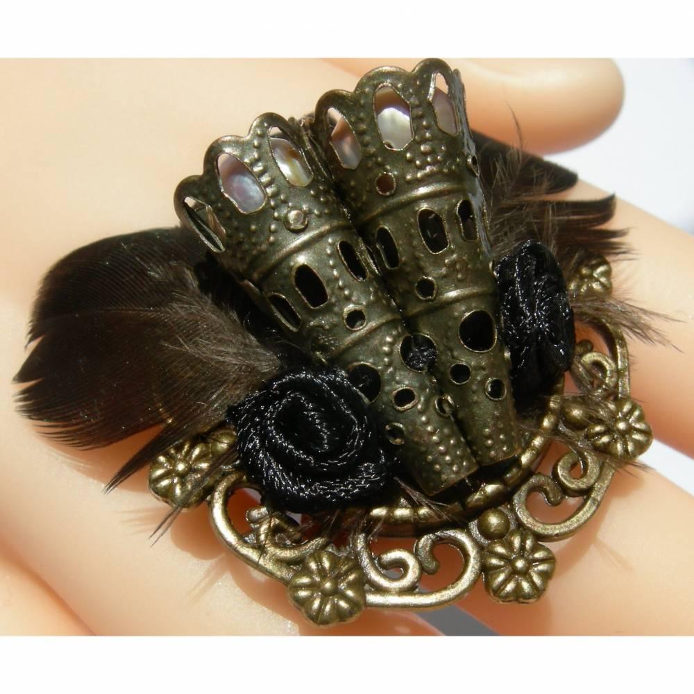 Ring steampunk Feder schwarz bronzefarben gothic Bild 1