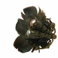 Ring steampunk Feder schwarz bronzefarben gothic Bild 2