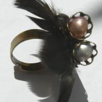 Ring steampunk Feder schwarz bronzefarben gothic Bild 4