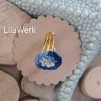 Ring Statementring gehäkelt vergoldet gold ombre blau hellblau weiß Farbverlauf  Bild 1
