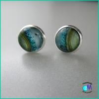 Versilberte Ohrstecker 10 mm  ART 4950  blau-grün handgearbeitet Bild 5