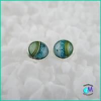 Versilberte Ohrstecker 10 mm  ART 4950  blau-grün handgearbeitet Bild 6