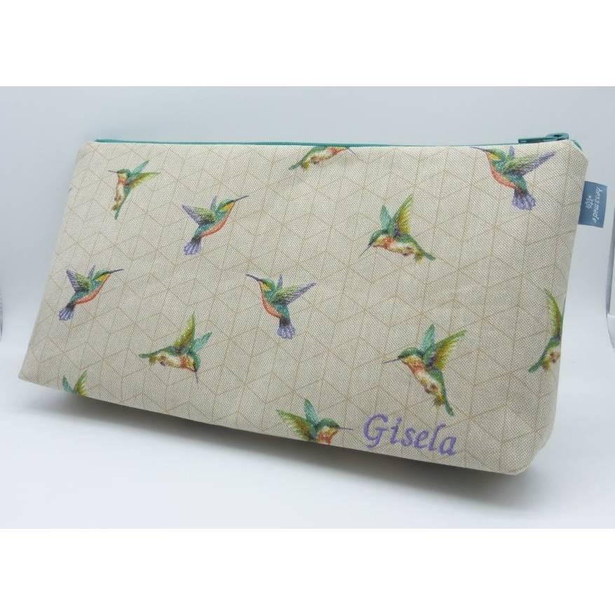 Kulturbeutel Kolibri, individualisierbar, Geschenk Bild 1