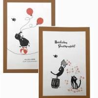 Geburtstagskarten, zweier Set, gestempelt, braun, cats on appletrees, Karte mit Umschlag,  Bild 1