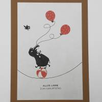 Geburtstagskarten, zweier Set, gestempelt, braun, cats on appletrees, Karte mit Umschlag,  Bild 2
