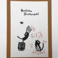 Geburtstagskarten, zweier Set, gestempelt, braun, cats on appletrees, Karte mit Umschlag,  Bild 4