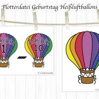 Plotterdatei Geburtstag, Heißluftballon mit Zahl, Serie 15 Bild 2