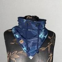 Kragenschal Übergang Frühling Herbst Lilien blau türkis Ösen Kordel Bild 1