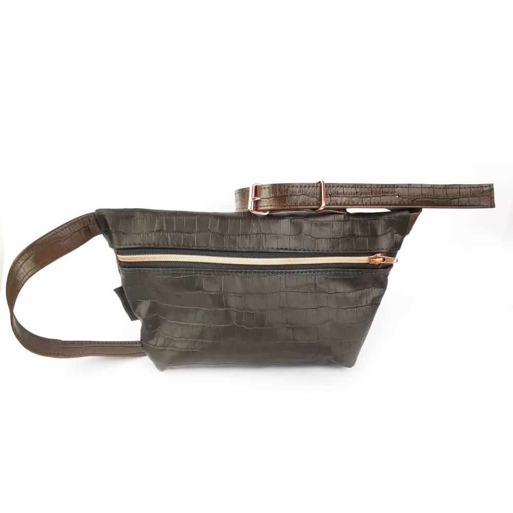 Gürteltasche, Crossbodybag aus schwarzbraunem Leder  Bild 1