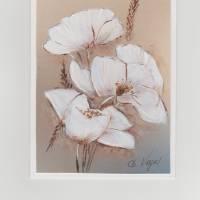 Grußkarte- Geburtstagskarte-  Sommergruß-- Mohn abstrakt-   handgemalt Bild 1