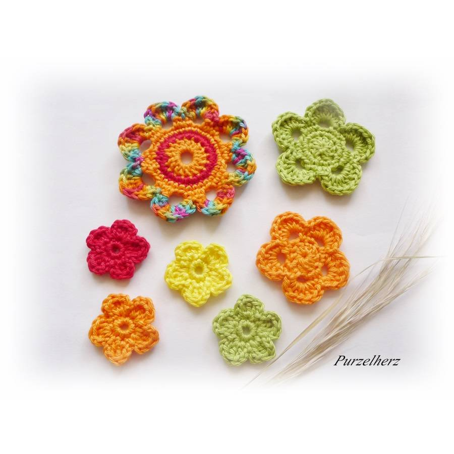 7- teiliges Häkelblumen-Set - Häkelapplikation,Aufnäher,Geschenk,Tischdeko,3D Blume,gelb,orange,rot,grün Bild 1