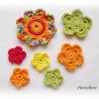 7- teiliges Häkelblumen-Set - Häkelapplikation,Aufnäher,Geschenk,Tischdeko,3D Blume,gelb,orange,rot,grün Bild 2