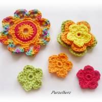 7- teiliges Häkelblumen-Set - Häkelapplikation,Aufnäher,Geschenk,Tischdeko,3D Blume,gelb,orange,rot,grün Bild 3