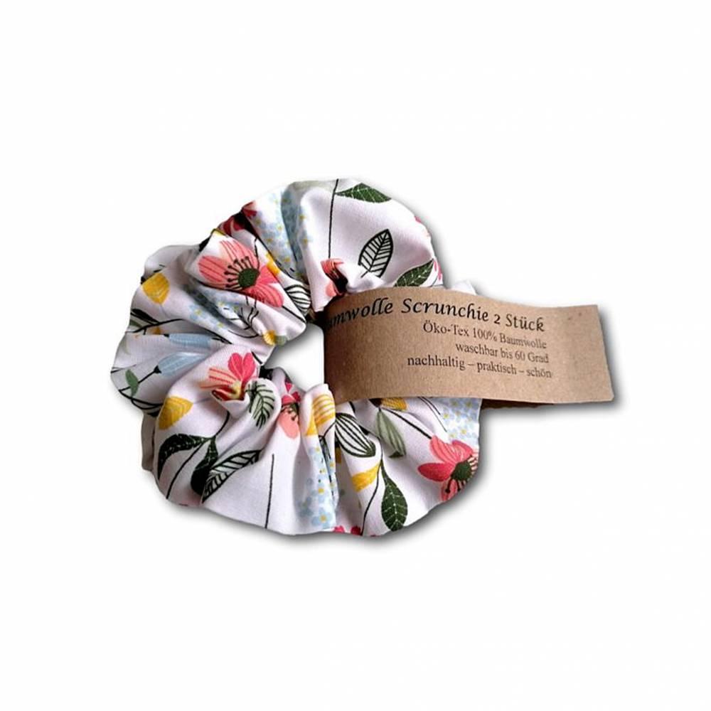 Scrunchie Haargummi Haarband im Set 2 Stück Baumwolle florale Motive Bild 1