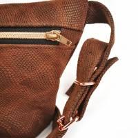 Gürteltasche, Crossbodybag aus braunem Leder mit Schlangenprint  Bild 2
