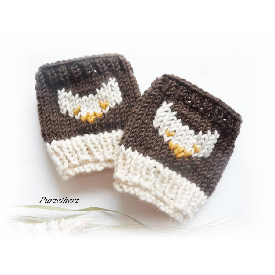 Handgestrickte Pulswärmer/Armstulpen fürs Baby/Neugeborene mit Fuchs - Handstulpen,Trachten,Geschenk,Taufe,Geburt,braun Bild 1