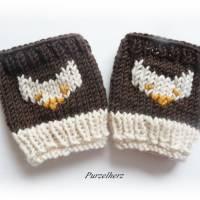 Handgestrickte Pulswärmer/Armstulpen fürs Baby/Neugeborene mit Fuchs - Handstulpen,Trachten,Geschenk,Taufe,Geburt,braun Bild 2