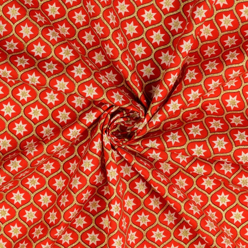Weihnachtsstoff Baumwolle Popeline Glitzerdruck Sterne rot/gold (1m/10,-€)  Bild 1