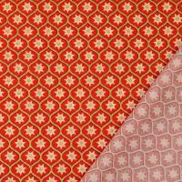 Weihnachtsstoff Baumwolle Popeline Glitzerdruck Sterne rot/gold (1m/10,-€)  Bild 3