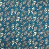 Stoff mit Federmotiv, petrolfarbener Baumwolljersey mit Digitaldruck Bild 4