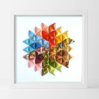 Buntes Mandala // Origami aus handmarmoriertem Papier im Objektrahmen Bild 1