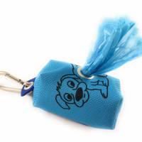 Kotbeutelspender, Kotbeuteltasche inklusive Kotbeutel, Hellblau-Blau mit Hund Bild 1