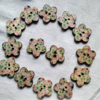 Holzknopf Blume mit Punkten, bedruckt, bunt, Knopf, Knöpfe, Blümchen Bild 2