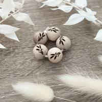 Holzperlen mit Gravur - Ähren - Makramee Perlen - Wood Beads Bild 1