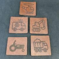 """Set Kunstlederlabel, 5 Teile """"Fahrzeuge"""" Bild 1"""