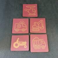 """Set Kunstlederlabel, 5 Teile """"Fahrzeuge"""" Bild 4"""